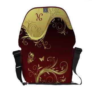 Gold Swirls and Butterflies Monogram Rickshaw Mess Courier Bag