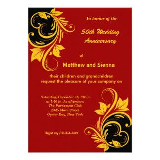 Gold Swirls Anniversary Custom Invites