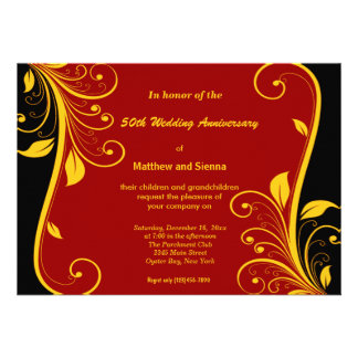 Gold Swirls Anniversary Personalized Announcements