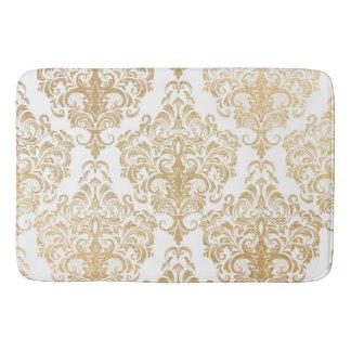 Gold swirls damask bathroom mat