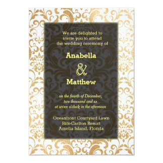 Gold swirls damask card