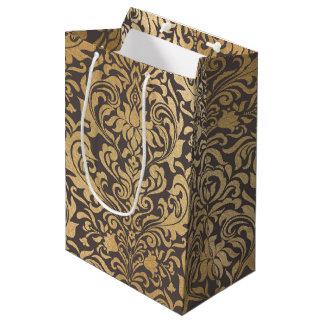 Gold swirls damask medium gift bag