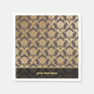 Gold swirls damask napkin
