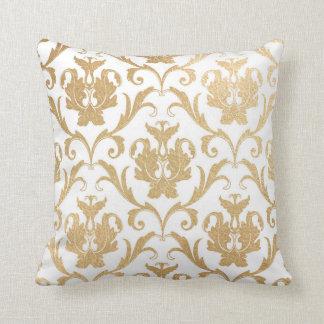 Gold swirls damask throw pillow