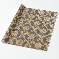 Gold swirls damask wrapping paper