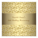 Gold Swirls Gold 50th Wedding Anniversary Party 5.25x5.25 Square Paper Invitation Card