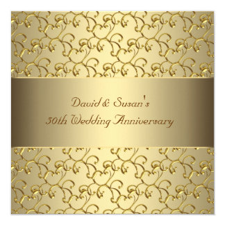 Gold Swirls Gold 50th Wedding Anniversary Party Invitation
