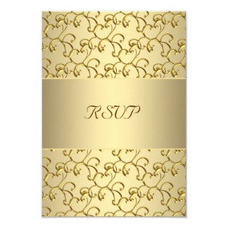 Gold Swirls Gold 50th Wedding Anniversary RSVP Card