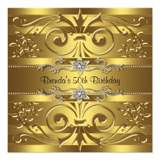 Gold Swirls Gold Birthday Party Announcement