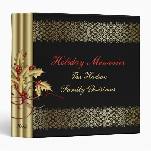 Gold Swirls Holly Red Berries Black Christmas 3 Ring Binder