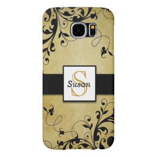 Gold Swirls Monogram Samsung Galaxy S6 Case