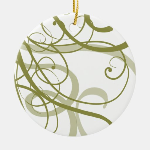 Gold Swirls Pattern Double-Sided Ceramic Round Christmas Ornament