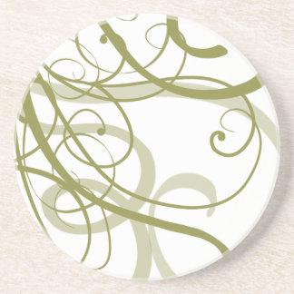 Gold Swirls Pattern Sandstone Coaster