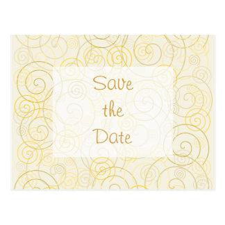Gold Swirls Save the Date Postcard