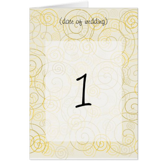 Gold Swirls Table Number Card
