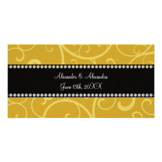gold swirls wedding favors personalized photo card