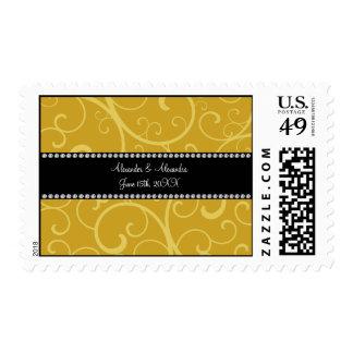 gold swirls wedding favors postage