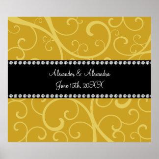gold swirls wedding favors print