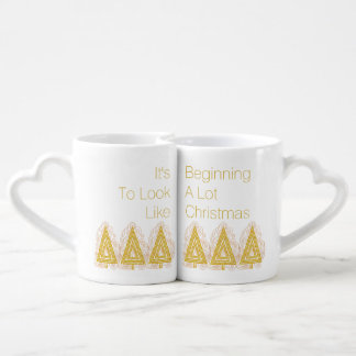 Gold Swirly Christmas Tree Modern Abstract Couples' Coffee Mug Set