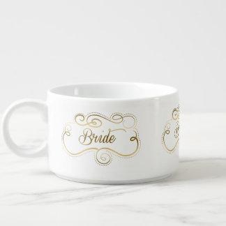 Gold Swirly Frame Bride text Design Bowl