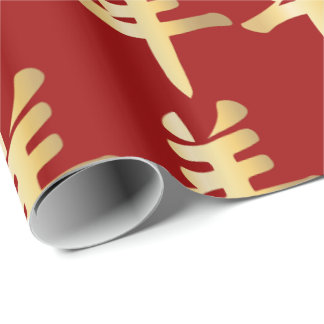 Gold Symbol Chinese Sheep Goat Ram Deep Red Wrapping Paper