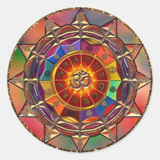 Gold Symbolic Sun Mandala Classic Round Sticker