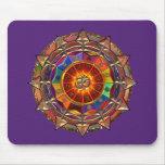 Gold Symbolic Sun Mandala Mouse Pads