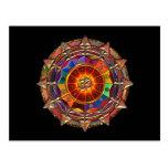 Gold Symbolic Sun Mandala Post Card
