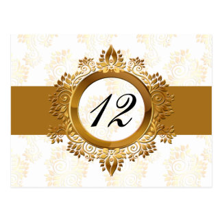 gold  table numbers postcards