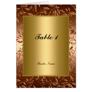 Gold Table Placement Card Menu