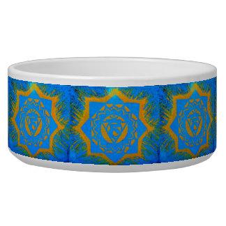 gold tantric stars on blue dog food bowl