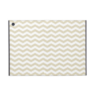 Gold taupe chevron zig zag textured zigzag pattern iPad mini cover