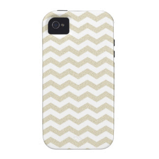 Gold taupe chevron zig zag textured zigzag pattern vibe iPhone 4 case