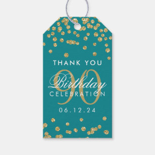 Gold Teal 90 Birthday Thank You Glitter Gift Tags
