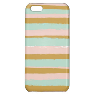 Gold, Teal and Pink Paint Stripes Case For iPhone 5C