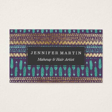 Aztec Themed Gold Teal and Purple Arrows Tribal Aztec Pattern Business Card