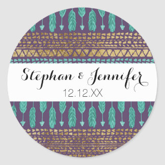 Gold Teal and Purple Arrows Tribal Aztec Pattern Classic Round Sticker
