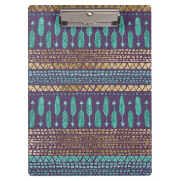 Aztec Themed Gold Teal and Purple Arrows Tribal Aztec Pattern Clipboard