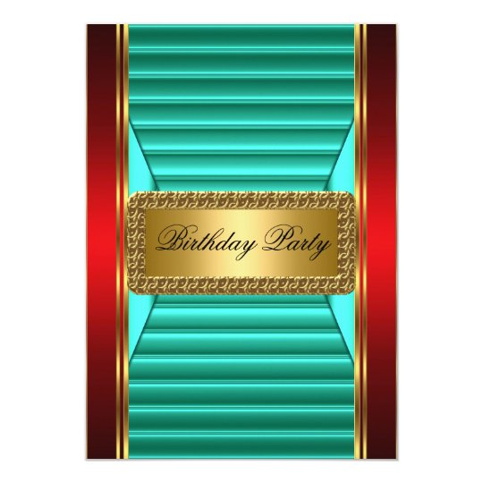Gold Teal and Red Art Deco Invitation