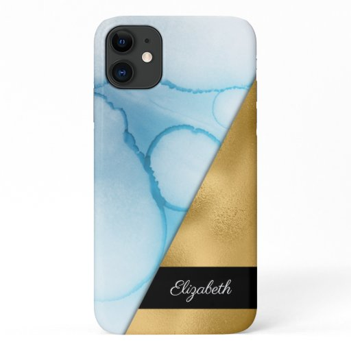 Gold Teal Aqua Blue Watercolor Ink Your Name iPhone 11 Case