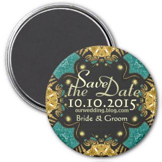 Gold Teal Black Funky Tribal Save the Date Magnet