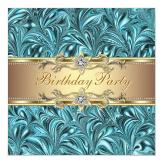 Gold Teal Blue Birthday Party Invitations