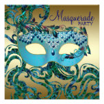 Gold Teal Blue Masquerade Party Invitations