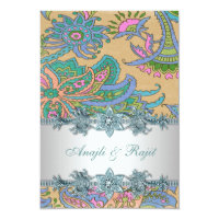 Gold Teal Blue Paisley Indian Wedding Reception Invitation