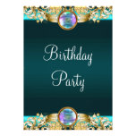 Gold Teal Blue Womans Birthday Party Custom Announcement