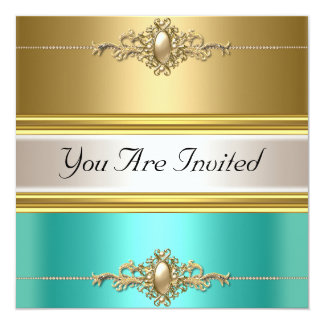 Gold Teal Color Birthday Party Card