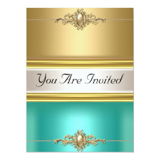 Gold Teal Color Birthday Party 6.5x8.75 Paper Invitation Card