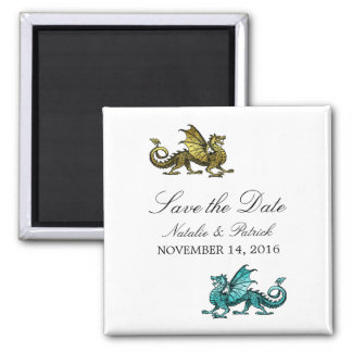Gold Teal Dragon Save the Date Magnet