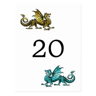 Gold Teal Dragon Table Number Postcard