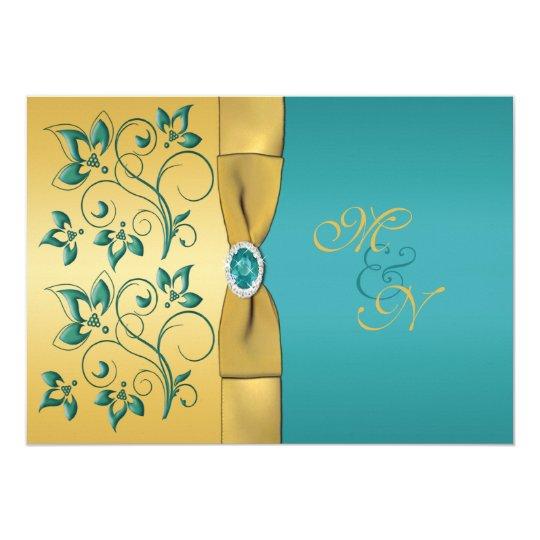 Gold, Teal Floral Monogram Wedding Invitation